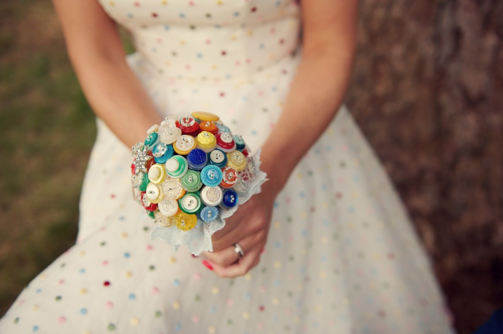 button wedding bouquet in bright colours