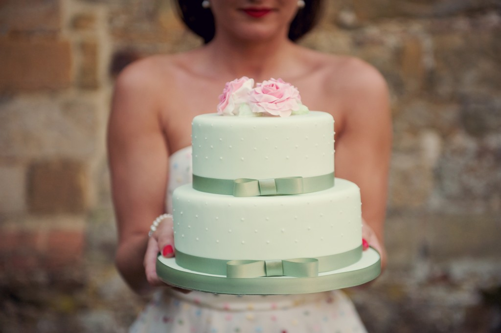 green tiered wedding cake