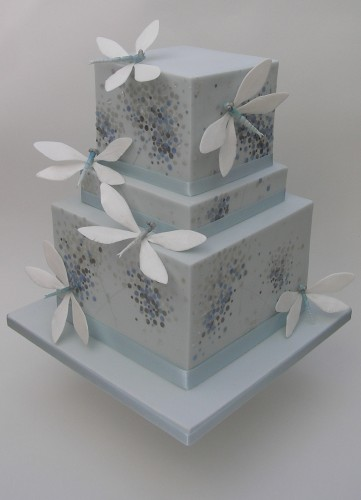 decorated wedding cakes in pale blue