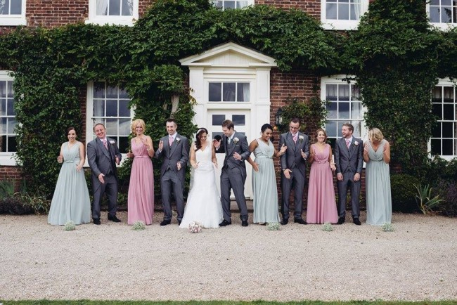 bridesmaids and groomsmen at wedding
