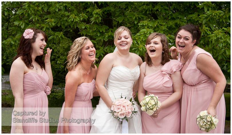 mismatched pale pink bridesmaid dresses