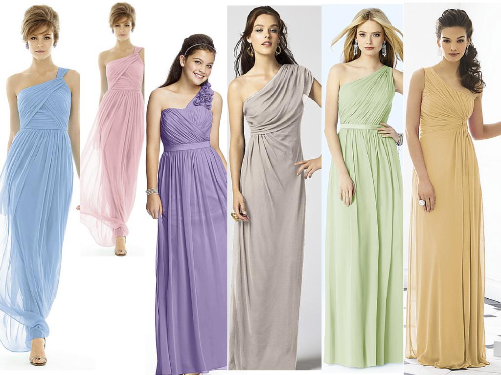 Goddess style bridesmaid dresses in pastels for Goddess style wedding dresses