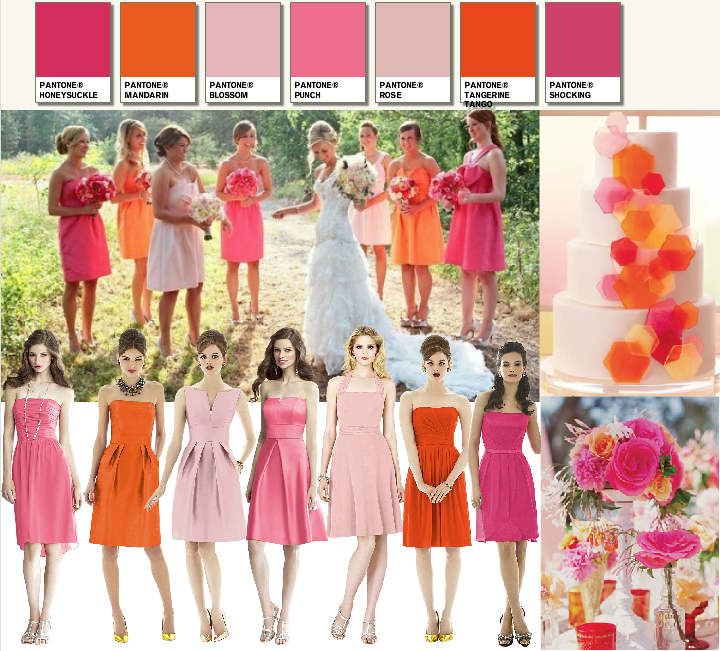 Bright Pink And Orange Bridesmaids Dresses From Dessy