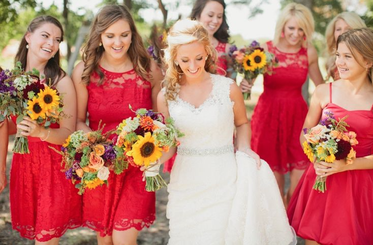 Red and Sunflower summer wedding