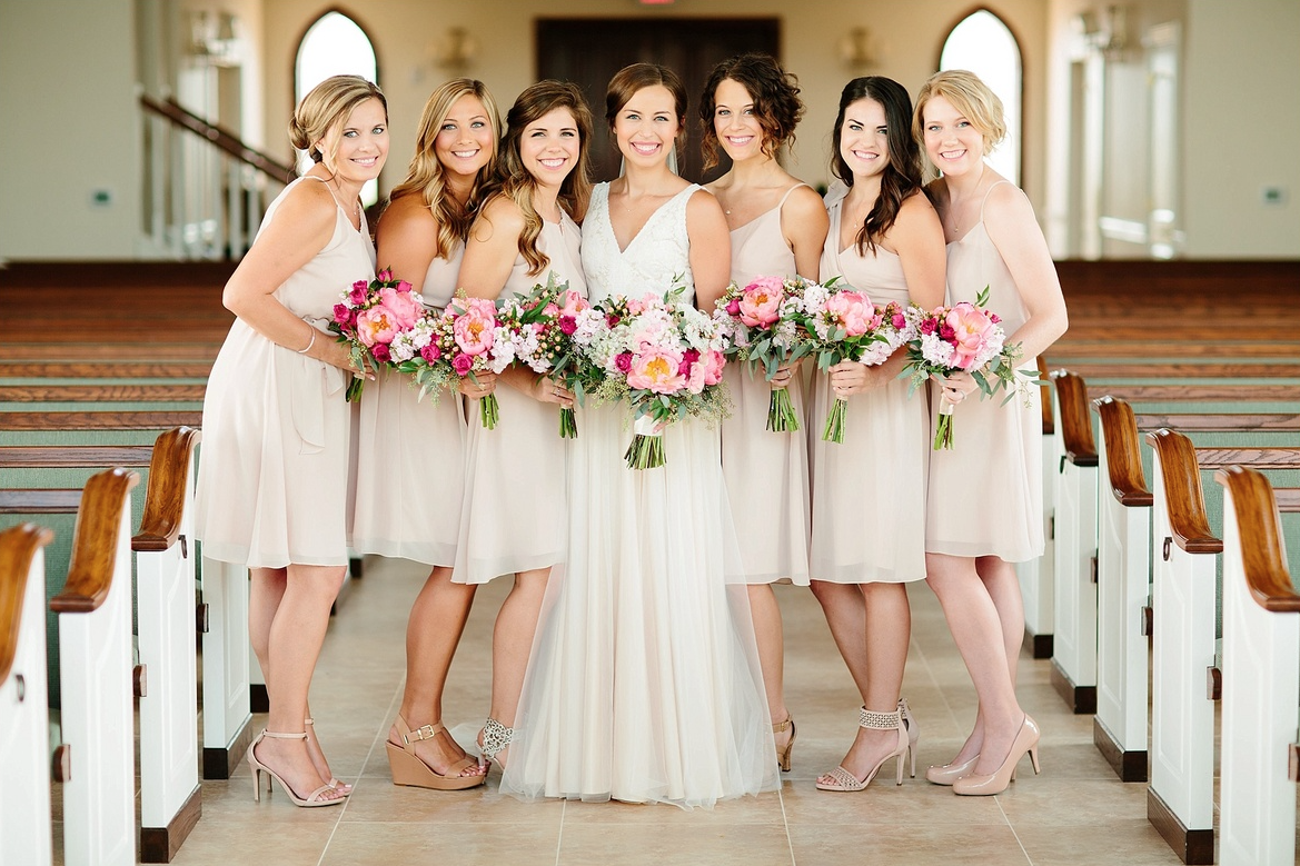 Real Bridesmaids In Beige Bridesmaid Dresses: Cameo Coloured Bridesmaid Dress