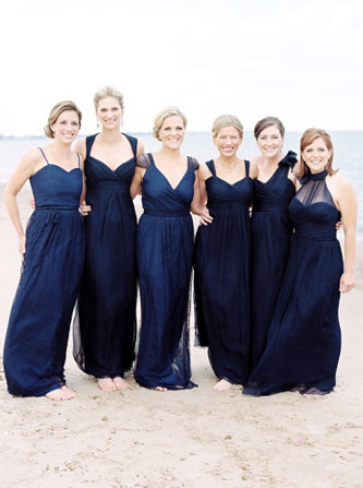 Long Midnight Blue Bridesmaid Dresses