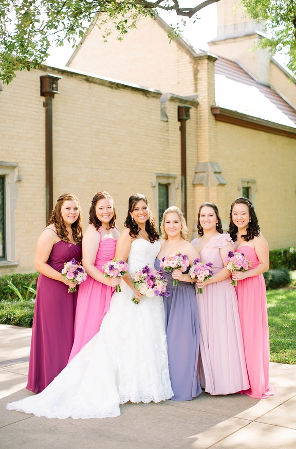 43d6ec982df5 Mismatched Pink and purple bridesmaids dresses