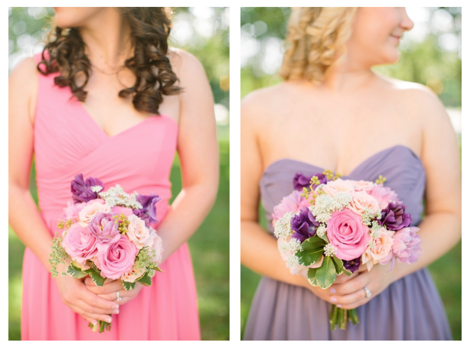 Mismatched Pink and purple bridesmaids dresses