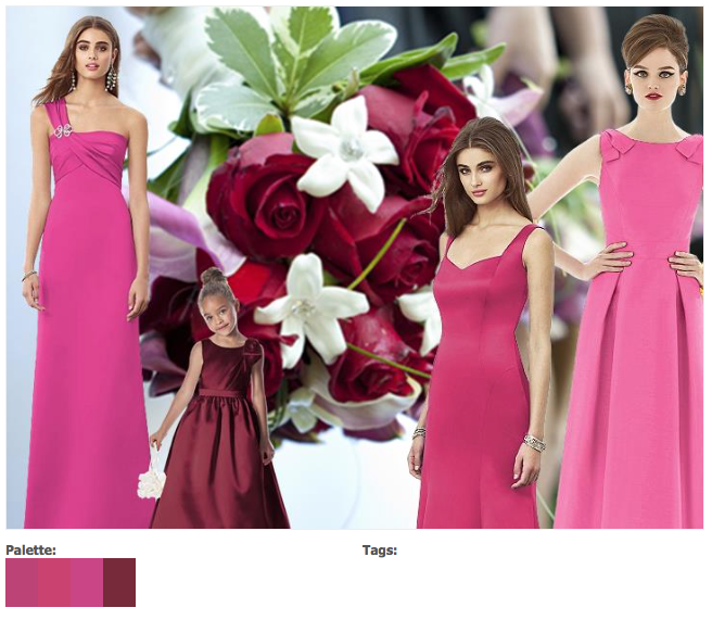 Pink And Red Bridesmaids Dresses Wedding Colours