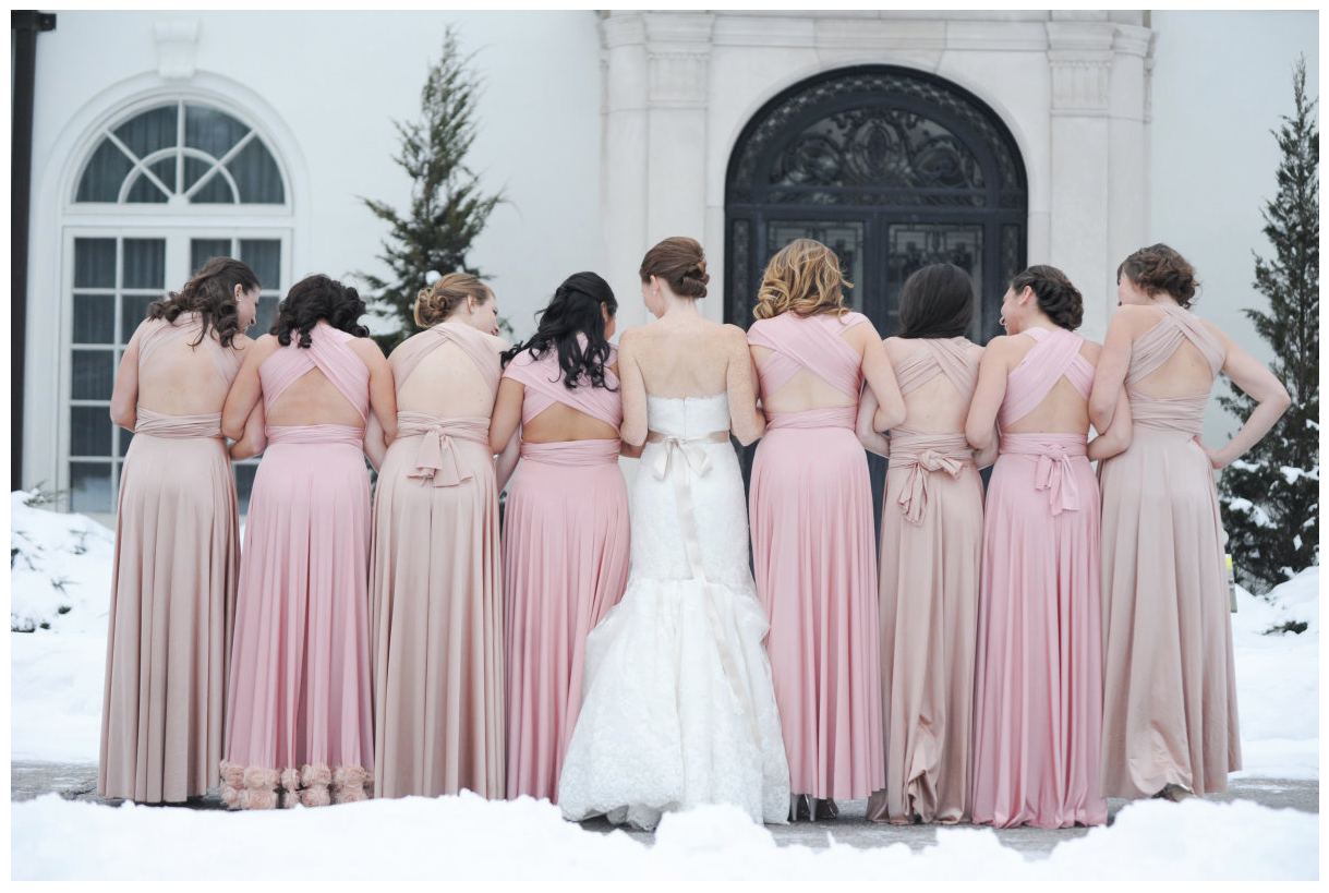 Blush and Beige Bridesmaids Dresses