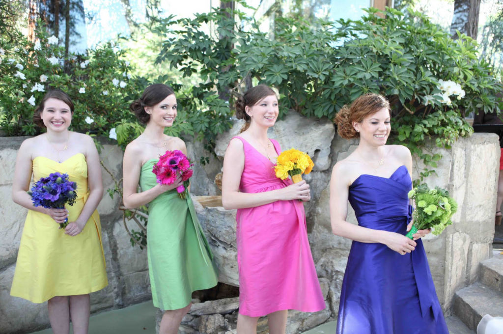 multicoloured bridesmaid dresses