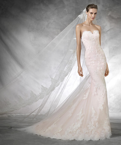 Blush Lace Pastel Wedding Dress By Pronovias