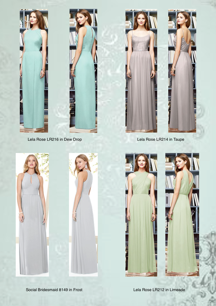 Mint or Silver Bridesmaid Dresses