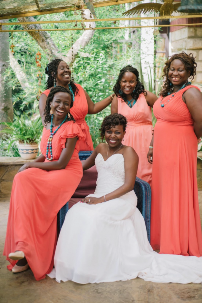 firecracker orange bridesmaid dresses