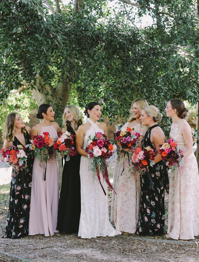 pink floral print bridesmaid dresses