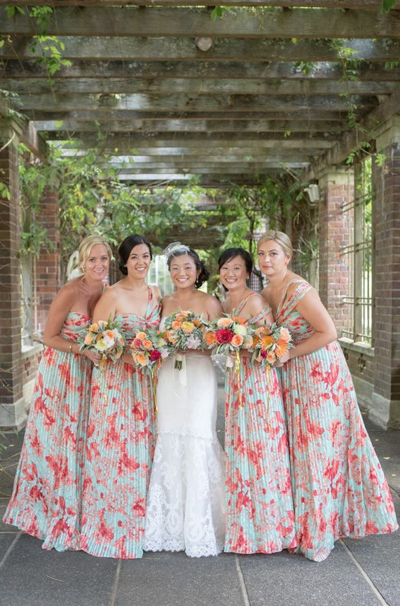 Pink Fl Print Bridesmaid Dresses