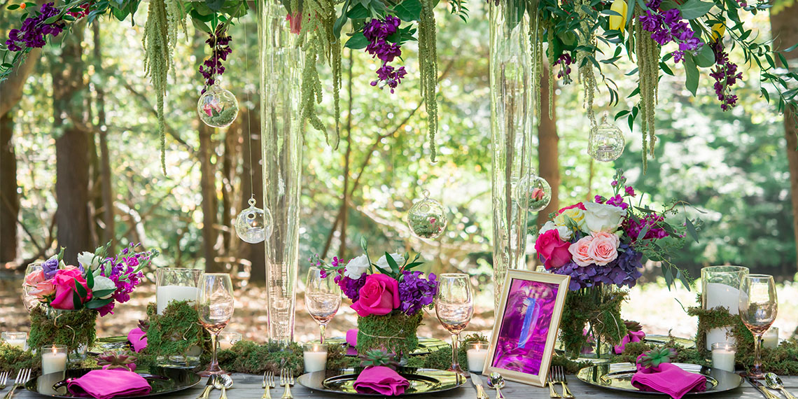 Decor idea: A forest feast reception