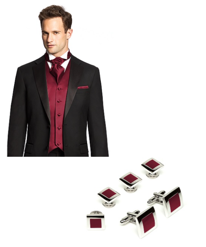 Vibrant red accessories for the groom