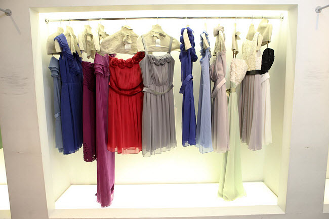 racks of Lela Rose bridesmaid dresses