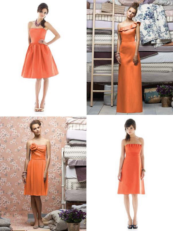 orange summer bridesmaid dresses