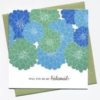 Cheerful Blossom Bridesmaid Cards - Blues and Greens