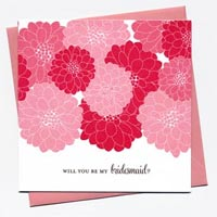 Cheerful Blossom Bridesmaid Cards - Shades of Pink
