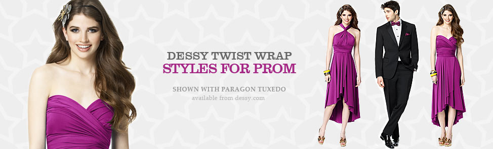 Dessy Twist Wrap Dress - Prom Styles Now Availble.