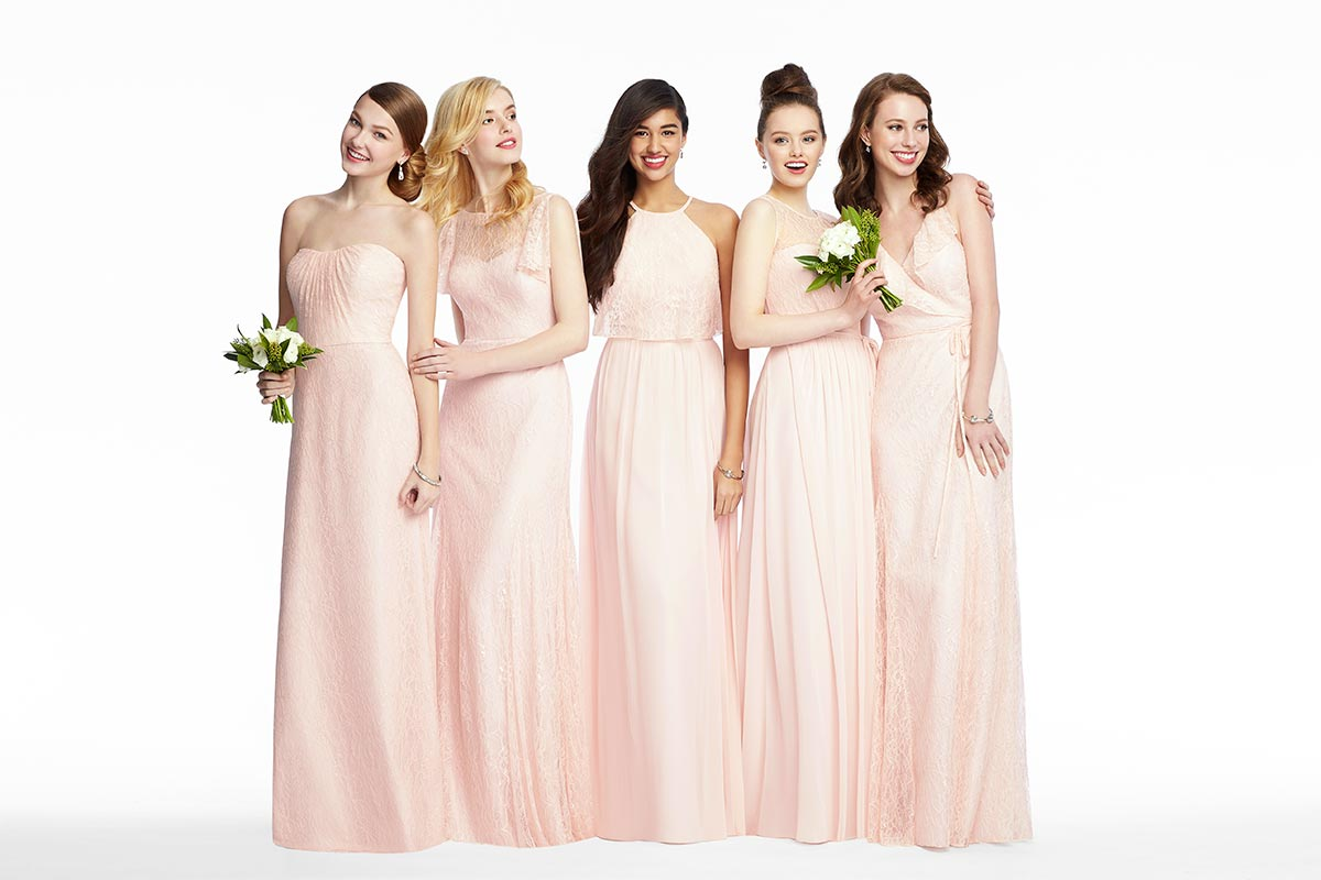 6 must see mix match bridesmaid looks the dessy group mix match bridesmaid dresses in blush florentine lace ombrellifo Gallery