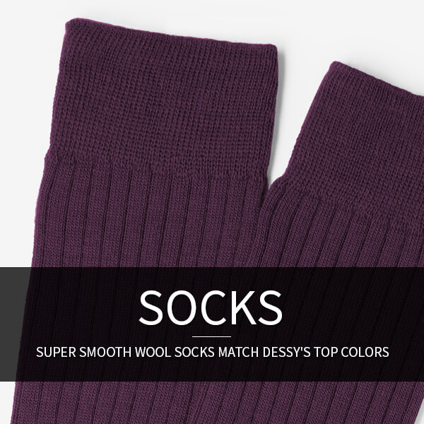 Men's Formal Wool Socks in wedding colors: super smooth wool socks match Dessy's top colors.