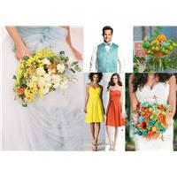 Tangerine, Teal and Yellow Wedding